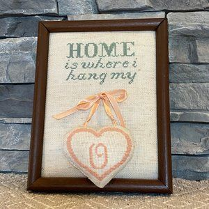 Vintage Needlepoint Home is where I Hang My Heart